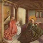 Konrad Witz (c. 1400-1410 - c. 1445/1446)  Annunciation  Oil on panel, c.1440  58 x 121 cm  Germanisches Nationalmuseum, Nuremberg, Germany